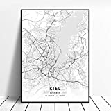 NOVELOVE Kiel Stadt Deutschland Karte Poster HD Drucke