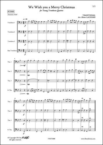 PARTITION CLASSIQUE - We Wish you a Merry Christmas - TRADITIONNEL - Quatuor de Trombones