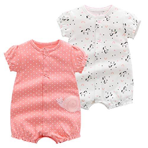 JiAmy Confezione da 2 Bambino Manica Corta Pagliaccetto Estate Body per Ragazze Tuta Pigiama Bambina in Cotone Outfit 18-24 Mesi