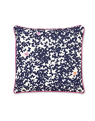 Joules Painted Poppy Cushion, Cotton, Navy, 40 x 40 x 15 cm