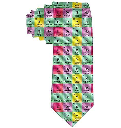 Hombres Ciencia Tabla periódica Biología Física Corbata Traje formal clásico Corbata Boda Prom Corbata