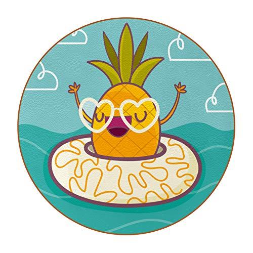 Mikrofaser-Leder-Untersetzer mit rundem Rand, 10,9 cm, hitzebeständig, wiederverwendbar, Untersetzer für Getränke, Weingläser, Pflanzen, Tassen und Becher, lustige Ananas mit Rettungsring