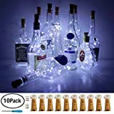 LoveNite Wine Bottle Lights with Cork, 10 Pack Battery Operated LED Cork Shape Silver Copper Wire Colorful Fairy Mini String Lights for DIY, Party, Decor, Christmas, Halloween,Wedding (Cool White)