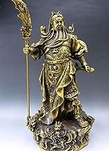 Feng Shui Decor Guan Yun Chang Statue Copper Satue China Martial god of Wealth Brass Sculpture Nine Dragon Guan gong Buddh...