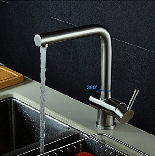 LD&P Robinets de cuisine, évier de cuisine en acier inoxydable brossé zinc robinets, cuisine en alliage de zinc peut tourner à froid et à chaud mélange robinets en céramique, taille du produit: 24,5 cm * 21 cm