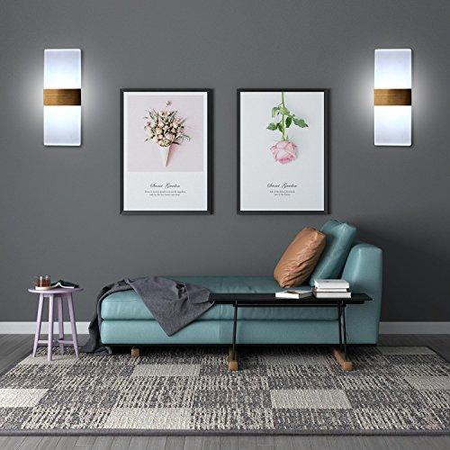 Wall Led Light Fixtures Indoor Modern Sconces Bedroom Hallway Decorative 12W 6000K Cold White Lighting 2 Pack