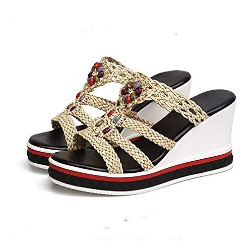 Chanclas de gran aspecto, sandalias de tacón con pendiente, sandalias tejidas de mujer zapatos de playa beige_39, suelas gruesas espumas fangkai77