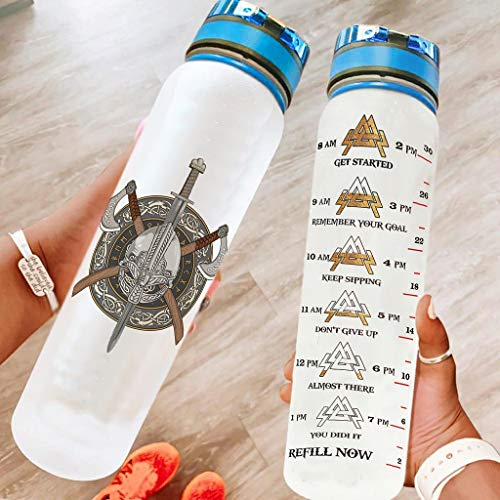 LIFOOST Viking - Botella deportiva moderna con personalidad, de plástico, apta para oficina, para correr, color blanco, 1000 ml