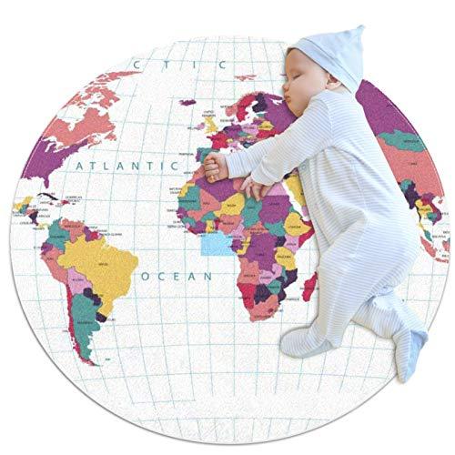 Tapis de jeu bébé Carte du monde Tapis de cercle de chambre à coucher, petit tapis rond antidérapant, tapis de salle de jeux pour enfants mignons décor à la maison 80cm