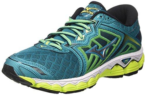 Mizuno Wave Sky Wos, Zapatillas de Running para Mujer, Multicolor (Tileblue/Silver/safetyyellow), 36.5 EU