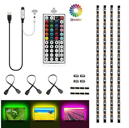 Topled Light®Bias Lighting per HDTV USB LED Kit striscia multicolore RGB LED neon sistema di illuminazione d'accento per TV LCD a schermo piatto, PC desktop(Nero)