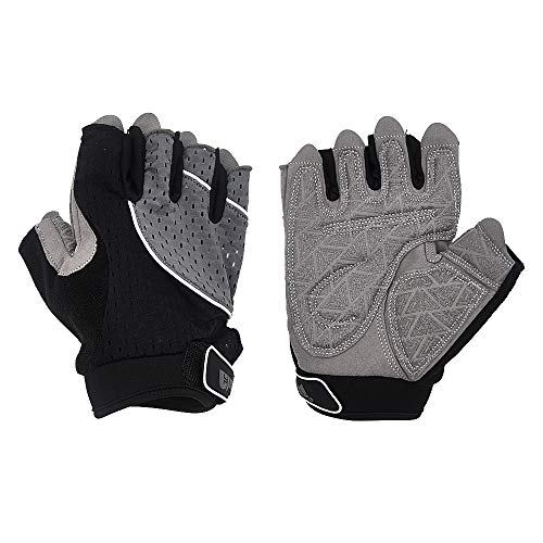 "ELUTONG Weight Lifting Gloves Gym Cycling Workout Crossfit, Breathable Light Microfiber & Anti-Slip Silica Best Running Mountain Bike Gloves Man and Women (Gray, Large 7.7-8.5"")"