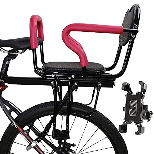 Asiento para NiñOs En Bicicleta Trasero para Bicicletas MTB Adultas Valla Desmontable con Respaldo Pedales Reposabrazos, Robusto Durable Cojín Suave Y Cómodo con Soporte para Teléfono Móvil