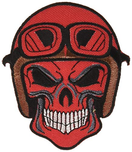 Skull Dead Head Helmet Goggles Ghost Zombie Death Red Color Biker Rider Chopper Motorcycle Jacket Vest Costume Embroidered Sew on Iron on Patch
