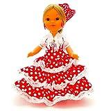 Folk Artesanía Muñeca artesana de 25 cm con Vestido Andaluza o Flamenca con peineta Nueva y Original (Rojo Lunar Blanco)