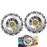 Grinder wood carving chain saw disc,4' chainsaw grinder wheel, Anti-kickback Double Saw Teeth Shaper, Cutting, Shaping Chain Blade for 100/115 Angle Grinder,22 Teeth, 5/8' Arbor