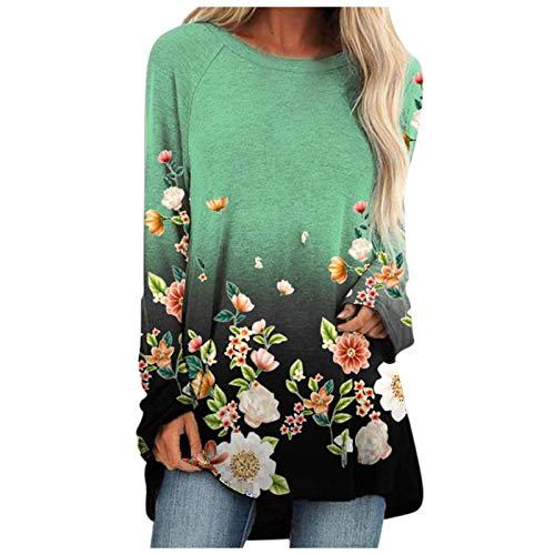 Damen Blumendruck Shirt Top Garten natürlichen Stil