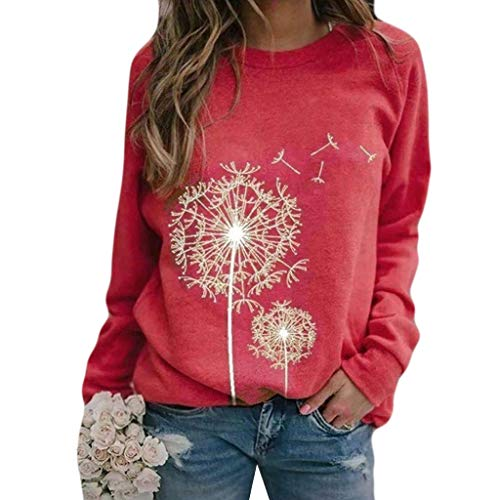 New AHUIGOYCE Women Casual Multi Colour O-Neck Dandelions Print Blouse Tops Long Sleeve Sweatshirt W...