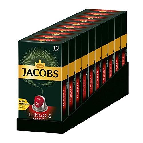 Jacobs Kapseln Lungo Classico, Intensität 6, 100 Nespresso®* kompatible Kaffeekapseln, 10er Pack, 10 x 10 Getränke
