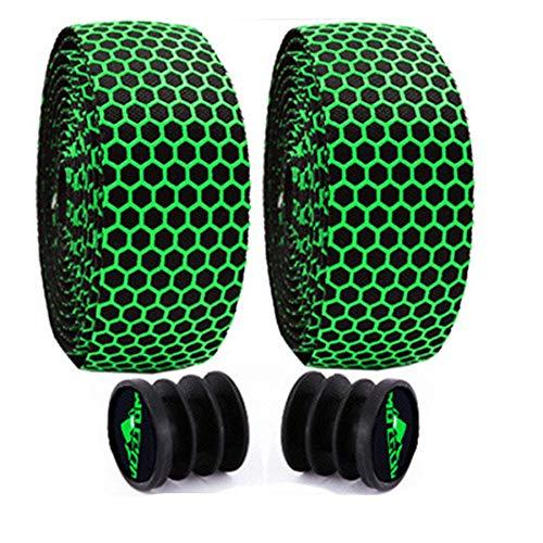 FUNHUA Cinta para manillar de bicicleta (2 rollos), cinta para manillar de bicicleta con tapón para bicicleta de carreras, duradera, ligera, antideslizante y amortiguadora, cómoda cinta adhesiva