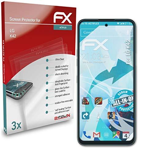 atFolix Schutzfolie kompatibel mit LG K42 Folie, ultraklare & Flexible FX Bildschirmschutzfolie (3X)