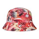 ZLYC Herren Frauen Unisex Galaxie Bucket Hat Fischerhüte Sommerhut Outdoor-Hut, Rot, Einheitsgröße