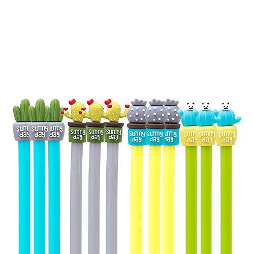 ASKCUT® Bolígrafo de Gel, Creativo y Bonito Estilo Cactus Rollerball Signature Pen para Oficina, Escuela, papelería, Suministros, Paquete de 12 [combinación de Color]