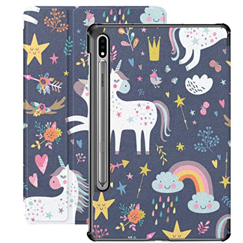 Unicorn Cute Child Accompany Samsung Galaxy Tablet Case For Samsung Galaxy Tab S7/s7 Plus Stand Back Cover Galaxy Tab S7 Cover For Galaxy Tab S7 11 Inch S7 Plus 12.4 Inch