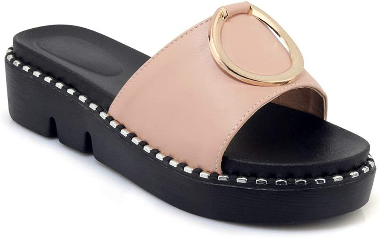 GIY Women's Open Toe Round Footbed Platform Slide Sandal Summer Beach Slip-On Flat Slide Sandals