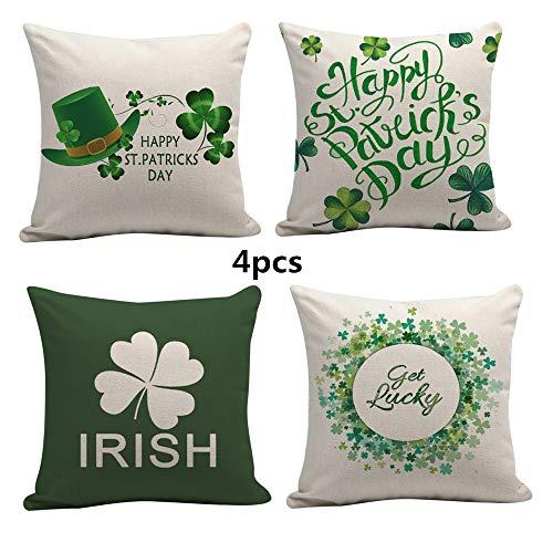 Maritown St. Patricks Day - Fundas de cojín (18 x 18 cm, 4 Unidades), diseño de San Patricio, Color Verde, A2, 45 * 45 cm
