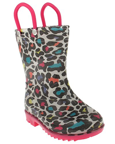 Capelli New York Shiny Leopard Printed Toddler Girls Jelly Rain Boots White Combo 8/9
