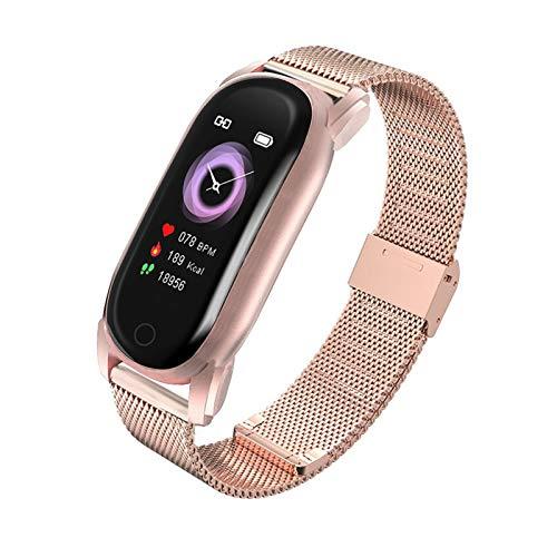 LXF JIAJU Women Smart Watch Impermeable Tasa del Corazón Monitor Monitor Fitness Tracker Muñequera De Lujo SmartWatch Smart Reloj para Android iOS (Color : Golden Steel)