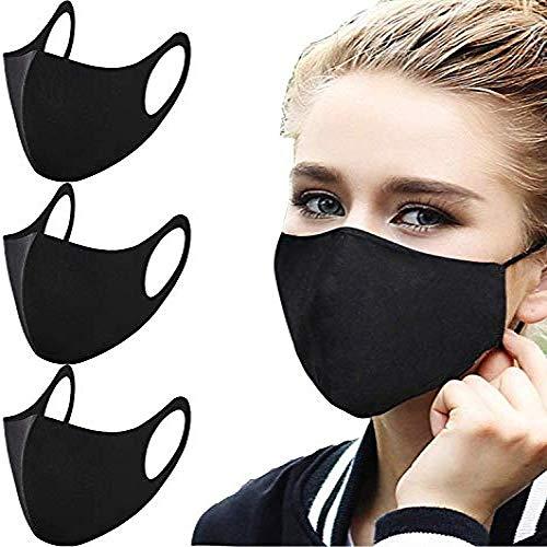 3 couches respirateurs Contre la poussière, Masque de Pollution 3D réutilisable et Lavable, Masque en Coton à l'épreuve du Vent, Cyclisme, Adulte Noir de Voyage Camping