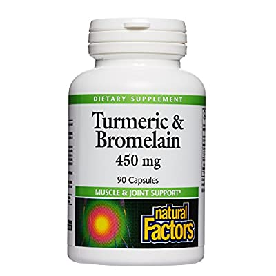 Natural Factors, Turmeric & Bromelain 450 mg, Supports Healthy Digestion, Liver, Muscle and Joint Function, 90 capsules (90 servings)