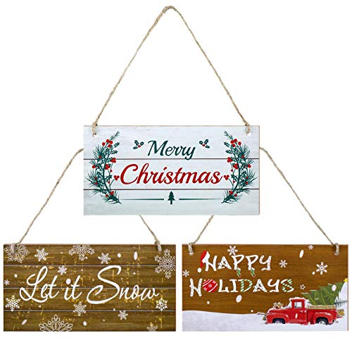 3 Pieces Christmas Wood Hanging Signs Ornaments with Rope Merry Christmas Let It Snow Happy Holidays Winter Home Wall Decor Rustic Indoor Outdoor Horizontal Sign for Home Classroom Office Decoration