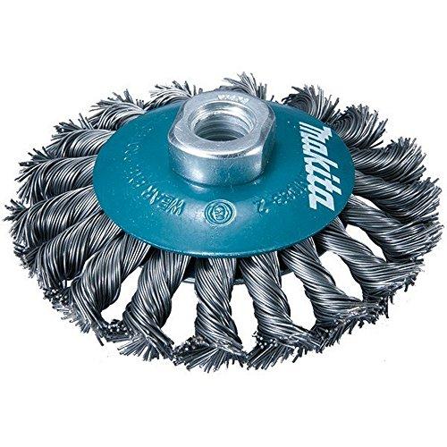 MAKITA D-39883 D-39883-Cepillo de alambre de 115 mm insercion m14 con forma oblicuo trenzado 0,3 mm, Color