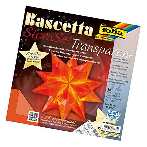 folia 840/2020 - Bastelset Bascetta Stern, Transparent orange, 20 x 20 cm, 32 Blatt, fertige Größe des Papiersterns ca. 30 cm, mit ausführlicher Anleitung - ideal zur zeitlosen Dekoration