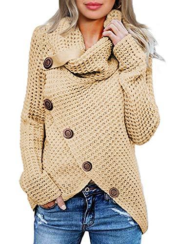 Actloe Women Cowl Neck Long Sleeve Asymmetrical Hem Sweaters Front Wrap with Button Pullover Jumper Beige Medium