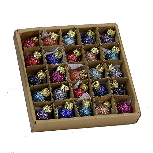 Kurt S. Adler 0.78-Inch Glitter Glass Ball, 25 Piece Set Ornaments, Multi, Count