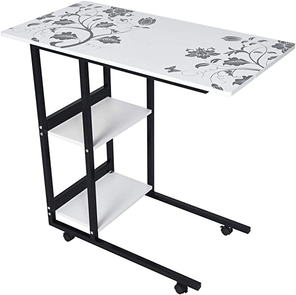 Yetou Height Adjustable Mobile Laptop Stand Desk Rolling Cart Height Adjustable From