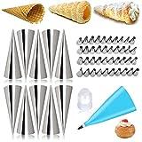 Chingde Molde de croissant, 52 piezas boquilla de tubería de hielo set de boca de flores de acero Crema pastelera Moldes Cannoli Juego de herramientas para hornear para decorar pasteles