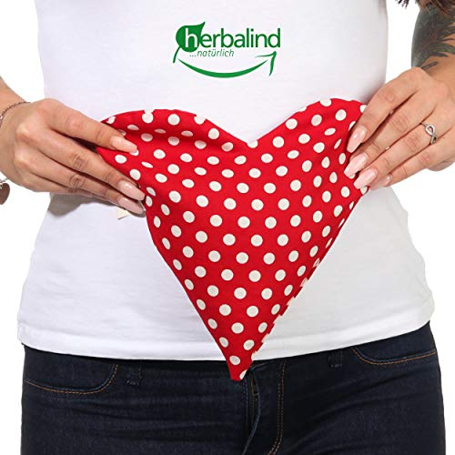 AKTION Rotkäppchen Herbalind Liebeskissen Herz Wärmekissen mit Traubenkernen 23x23 cm 100% Baumwolle OEKO TEX - Mikrowelle Körnerkissen, liebevolle Handarbeit, für Bauch rot