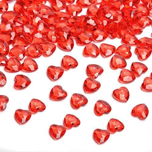HAKACC Herzen Diamantkristalle, 1000 Stück 12mm Rot Streudeko Herzen Deko Diamanten Herz Deko für Hochzeit