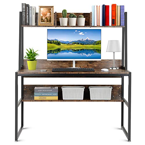 Computer Desk, 120 * 60 * 140cm Industrial Wood Desk Writing Desk with Storage Shelves Bookshelf for Home Office Work Study Table, Rustic Brown and Black