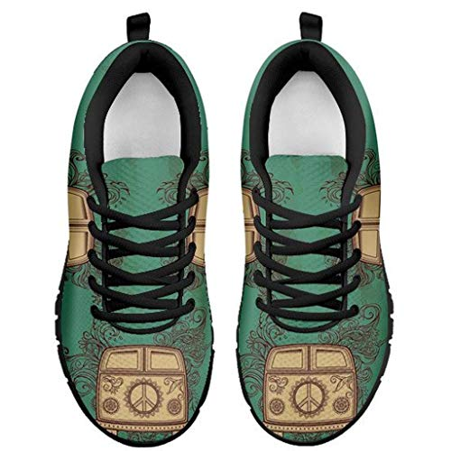 Hippie Camper Van Peace Sign Themed Sneakers Free Spirited Womens Shoes B (5.5)