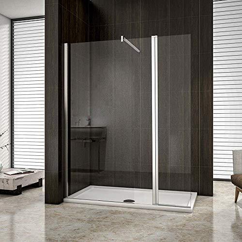 AICA paroi de douche pivotante 90x200cm+40x200cm paroi à l'italienne avec un retour
