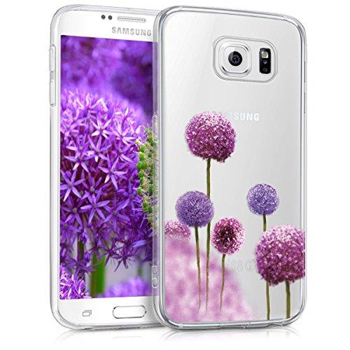 kwmobile Hülle kompatibel mit Samsung Galaxy S6 / S6 Duos - Handyhülle - Handy Case Blume Kugel Pink Violett Transparent