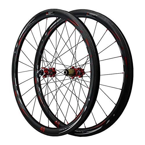 ZFF 700c Scheibenbremse Rennrad Laufradsatz 40MM Aluminium + Kohlefaser Nabe Öffnen 7/8/9/10/11/12 Fach Schwungrad (Color : Red, Size : Quick Release)