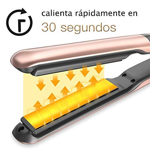 FASHSMILE Plancha de Pelo Profesional - Alisadora y Rizadora Planchas del pelo 30 segundos de calentamiento rápido, con pantalla LCD y 8 Temperaturas Ajustables (160°C-230°C), Enviar Guantes y Clip
