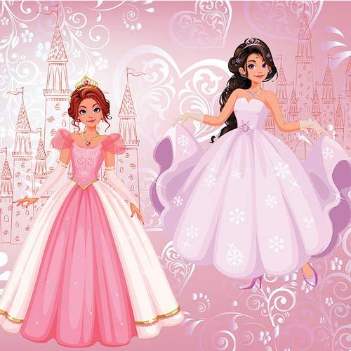 Forwall Fototapete Vlies Liebevolle Tapete Prinzessin Kinderzimmer 3D Effekt Dekoration Pink Rosa - Mädchen Moderne Wanddeko Wandtapete für Kinder 12529VEXXXL 416cm x 254cm